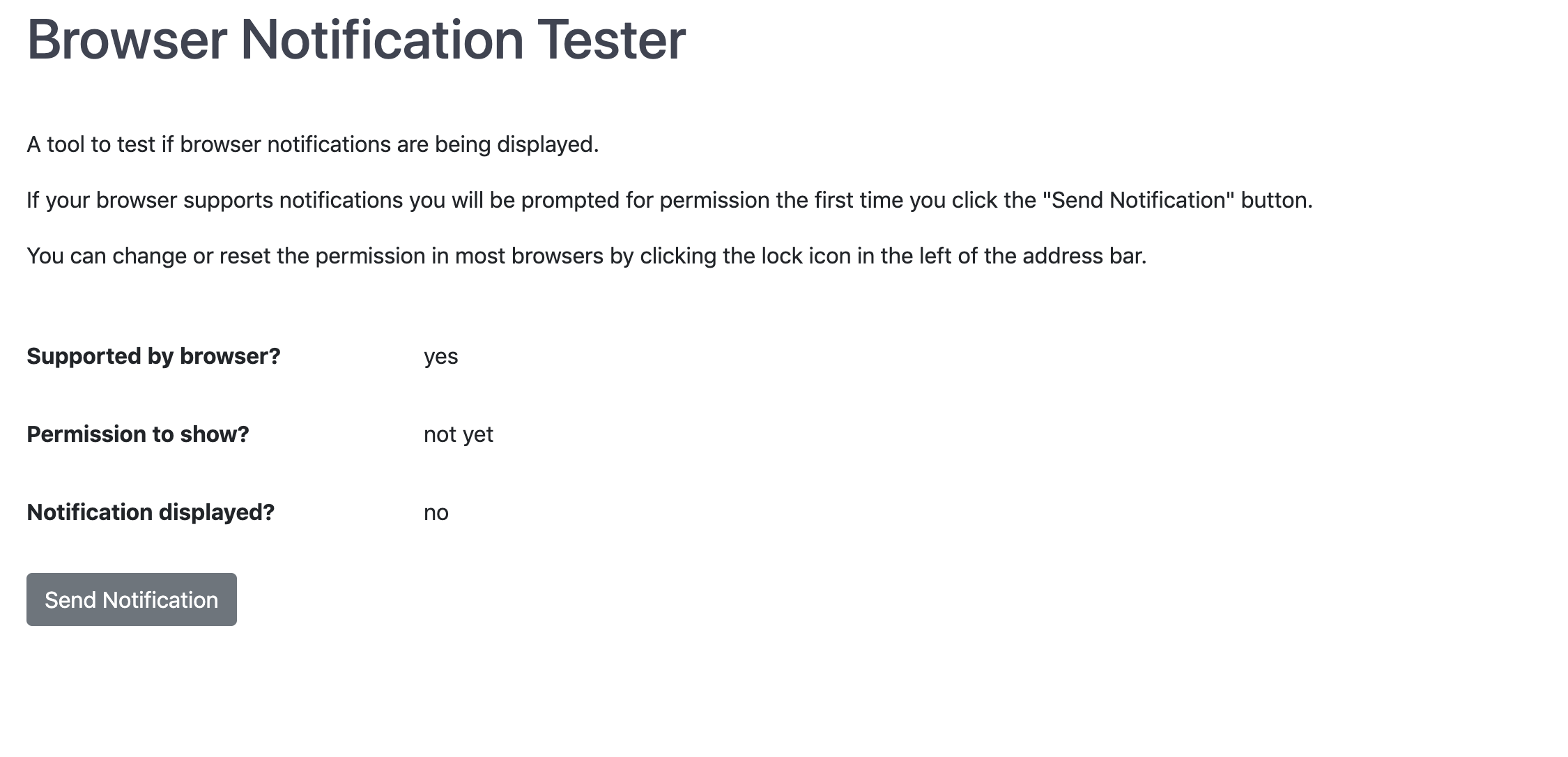 Browser Notification Tester screenshot
